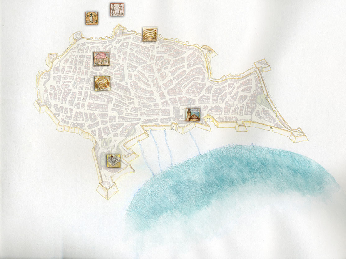 Pianta di Catania del '500 Laudani/Messina